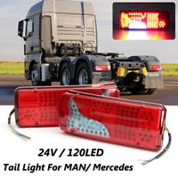 Pair 120 LED Rear Tail Truck Lights For Mercedes Benz Van MAN DAF TGX Scania 24V
