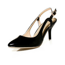 Ladies Party Shoes Synthetic Leather Mid Heels Slingbacks Sandals US Size S903