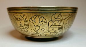 Brass bowl egyptian etched with pyramids sun sphinx 250grammes 4.5 inches across