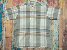 Mens Vintage St Michael Classic Check Grandad Shirt 80s Beach Size Medium