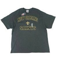 New Orleans Saints T-Shirt Men's Size 2XL Gray Short Sleeve Majestic NFL Tee New