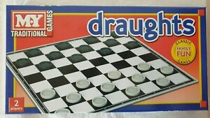 Draughts Checkers Board Game Family Kids Traditional Folding Board Gam Play