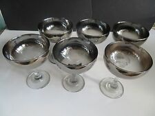 "6 Vintage Dorothy Thorpe Silver Fade 5 1/4"" Champaign Footed Glasses"