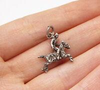 925 Sterling Silver - Vintage Horse Riding Charm Pendant - PT2246