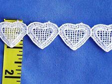 """Venice Lace Trim Edging Venice Heart Chain Lace Trim 1"""" White 5 yds #W22"""