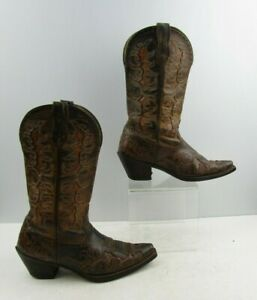Ladies Ariat Brown Leather Distressed Western Cowgirl Boots Size : 7.5 B