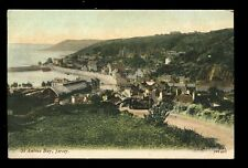 Channel Islands JERSEY St Aubins Bay and railway statiion vintage PPC