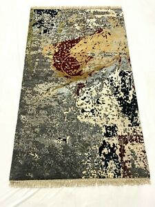 HANDKNOTTED WOOL AND BAMBOO SILK CARPET 3x5 FT FOR LIVING ROOM