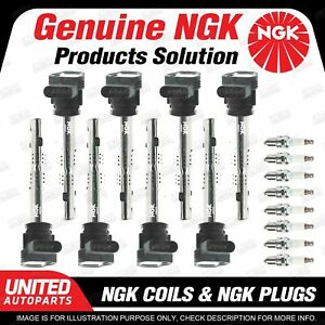 NGK 8 Spark Plugs + 8 Igniton Coils for Audi RS4 B7 4.2L V8 2006-2008