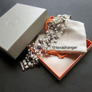 "Tiffany & Co. Iridesse Grey White Pearl Torsade Bracelet 8"""