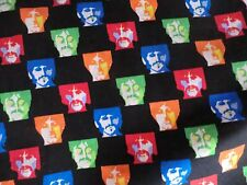 BEATLES FABRIC VIP BY CRANTSON BEATLES FACES COLORFUL COTTON FABRIC NEW BTY OOP