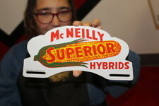 Mc Neilly Hybrids Seed Corn Farm License Plate Top Gas Oil Porcelain Metal Sign