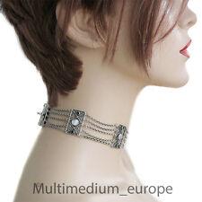 Jugendstil Silber Collier de chien Halskette Perlmutt Saphir filigran antik