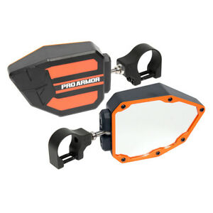 "Pro Armor Side View Breakaway Mirrors Set Orange 1.75"" Polaris Can-Am Universal"
