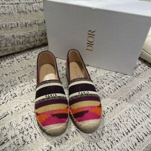 Authentic Brand New In Box Dior Espadrilles Flats Shoes Size 38