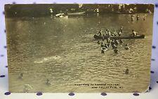RPPC 1910's Meramec River Valley Park MO Missouri Row Boats Swimmers Swimming