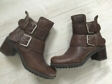 ladies clarks brown leather buckle boots 5.5