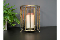 Bamboo Style Metal Antique Gold Candle Holder
