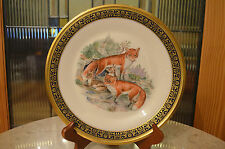 1974 RED FOXES Lenox Boehm Woodland Wildlife Plate Gold Trim Limited Edition