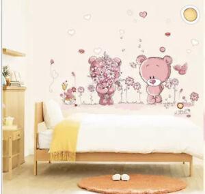 🌸Wandtattoo|Kinder-Babyzimmer|Bär|Rosa|Blumen  Wandsticker|Mädchen|Neu🌸