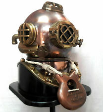 Mark V Diving Divers Helmet Antique Scuba U.S Navy Solid Brass 18'' With Base