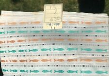 """Vintage Fabric 1950s 60's 1 3/4 yds x 34""""w/Tag Fish Embroidery Weave Fabric"""