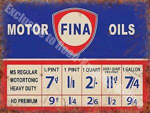Fina Motor Oils 137 Old Vintage Garage Old Car Petrol Fuel, Small Metal Tin Sign