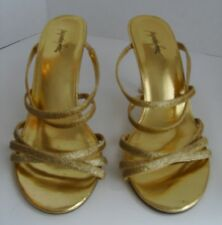 Jaqueline Ferrar US Size 7M Gold Sparkle Strappy Sandals w/Clear Heels