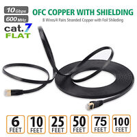 Cat7 RJ45 Ethernet Flat Patch Network LAN Internet Cable Gold Plated 2M~30M
