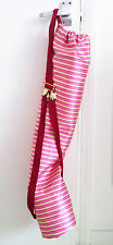 DANA LEVY pink gold yoga mat carry bag gold striped silk ribbon strap charms
