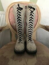 I PINCO PALLINO SZ 40 GREY-BEIGE PATENT CHECK-MOTTLED LACE UP 1990's BOOTS