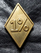 One Percenter 1%er Biker outlaw Anarchy Antique Brass MC Jacket Vest BIKER PIN