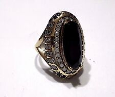 Turkish Ottoman 925 Sterling Silver Hurrem Sultan Gemstone Black Onyx Ring