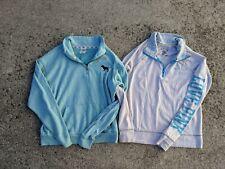 LOT Victorias Secret PINK Half Zip Pullover Seafoam Green Gray/Blue Size XS
