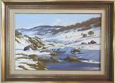 Robyn Collier large oil painting 60x90cm Snowy Mountains