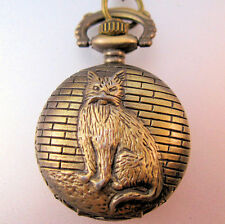 Vintage Style Cat Ladies Petite Pocket Watch Pendant Necklace with Chain NWOT