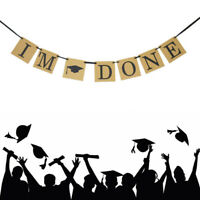 """I'm Done""Hanging 118.11"" Bunting Garland Graduation Cap Party Banner Photo Prop"