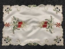 Beige Color Christmas Red Poinsettia Embroidered Cutwork Table Placemats Runner