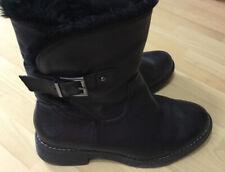 Ladies Black Leather M&S Biker Boots 5.5