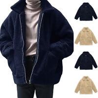 Men Winter Warm Casual Sweatshirt  Jacket Teddy Coat Fluffy Outwear Overcoat Top