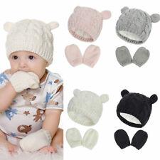 Boys Girls Knitted Winter Beanie Warm Boys Hats Gloves Set Thicken 0-18 Months