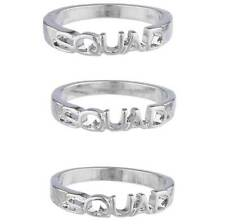 Lux Accessories Silver Tone Squad BFF Best Friends Forever Trendy Ring Set 3PC