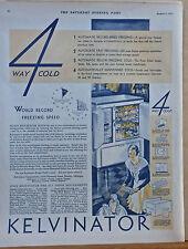 Vintage 1930 magazine ad for Kelvinator Refrigerator - 4 Way Cold, features list