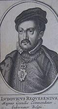 LUDOVICUS REQUESENIUS, Portrait, gravure 17 ème. Dimensions : 60 mm X 110 mm.