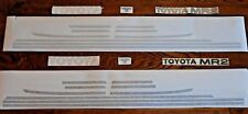 TOYOTA MR2 MK1 STRIPE / STICKER SET IN LIGHT SILVER. AW11 DECALS for RED MR2