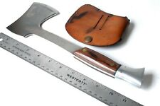 Vintage WESTERN W10 E HATCHET Camping Axe Wood Scales Handle With Sheath Unused