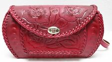 MEXICAN Leather TOOLED PURSE CINCELADO 3 BURGUNDY Handmade Hippie Serape LARGE