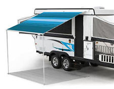 8 ft Campout Bag Awning in Ocean Blue Denim Stripes for Pop Up Camper Trailer