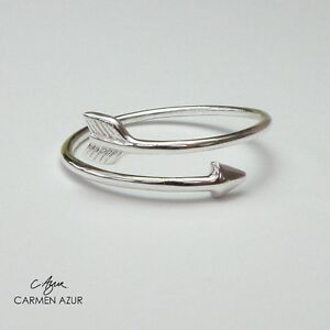 925 Sterling Silver Ring Slim Arrow Size J,K,L,M,N,O,P,Q,R,S,T Ladies + Gift Bag