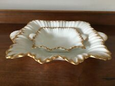 2 Wileman & Co Foley square fluted dishes with gold edging